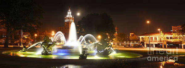 Wall Art - Photograph - Plaza 4 Horse Fountain And Moon by Tim Mulina