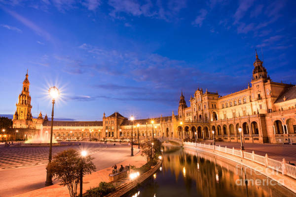 Plaza Photograph - Plaza De Espana At Night by Delphimages Photo Creations