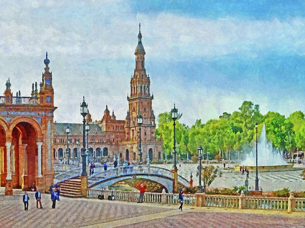 Digital Art - Plaza De Espana In Seville by Digital Photographic Arts