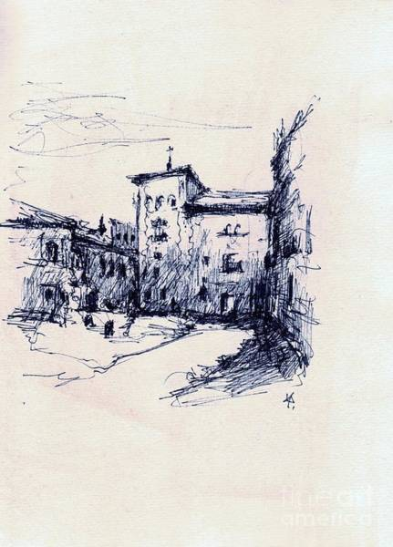 Drawing - Plaza De La Villa Madrid by Karina Plachetka