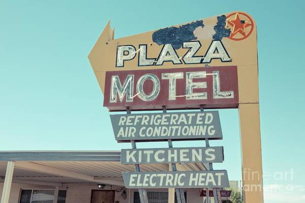 Neon Photograph - Plaza Motel Neon Sign Overton Nevada by Edward Fielding