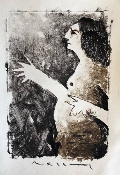 Monotype Mixed Media - Plea by Mark M Mellon