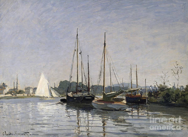 Riverbank Painting - Pleasure Boats Argenteuil by Claude Monet