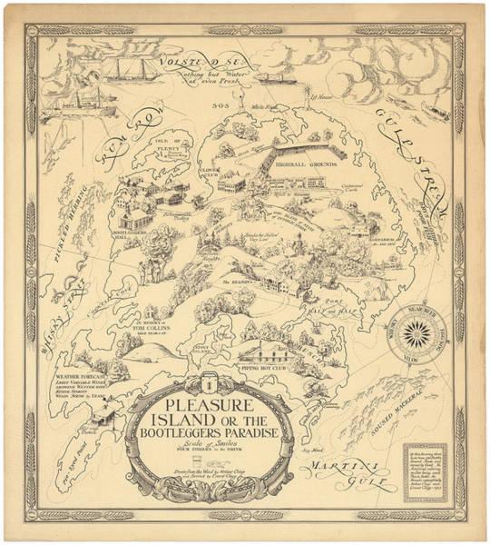 Pleasure Drawing - Pleasure Island Or The Bootleggers Paradise - Map Of Alcoholic Drinks - Brewers Map, 1925 by Studio Grafiikka