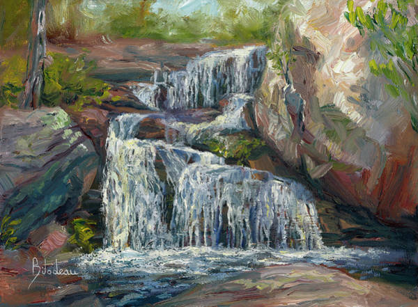 Outdoors Painting - Plein Air - Waterfall by Lucie Bilodeau