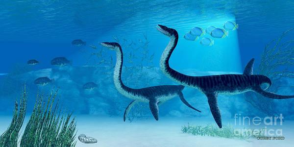 Vertebrate Painting - Plesiosaurus Dinosaur by Corey Ford