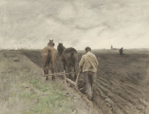 Ploughing Painting - Ploughing Farmer by Anton Mauve