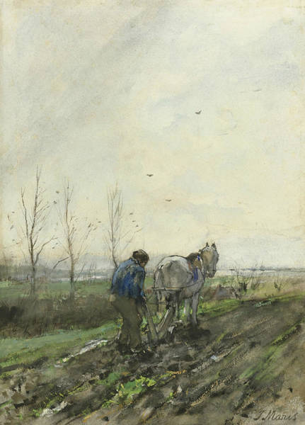 Ploughing Painting - Ploughing Farmer by Jacob Maris