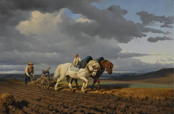 Ploughing Painting - Ploughing by Rosa Bonheur