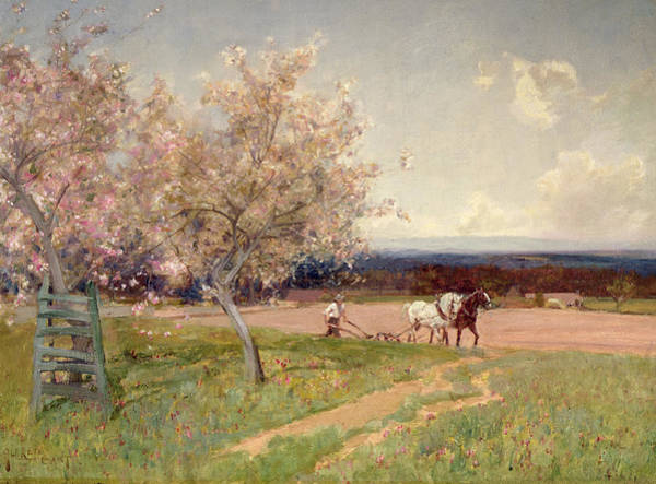 Ploughing Painting - Ploughing by Sir Alfred East