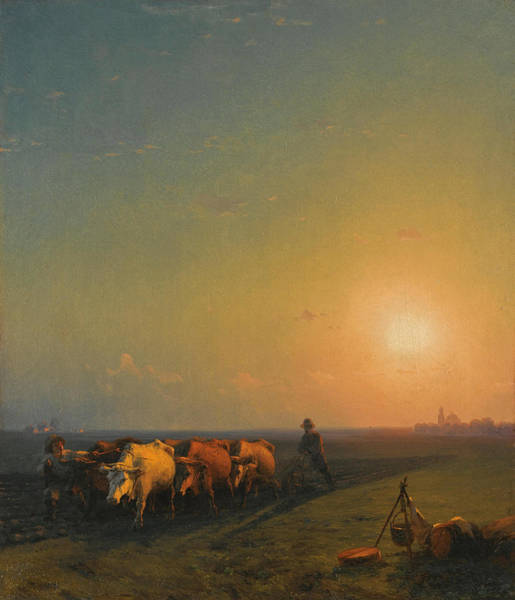 Ploughing Painting - Ploughing The Fields. Crimea by Ivan Konstantinovich Aivazovsky