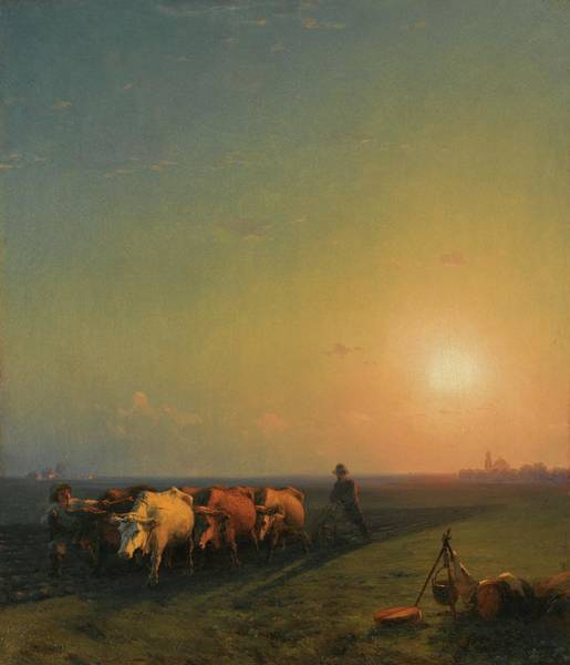 Ploughing Painting - Ploughing The Fields, Crimea by Konstantinovich Aivazovsky