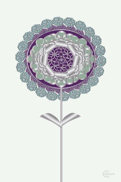 Digital Art - Plum Mint Art Deco Daisy Flower by Cecely Bloom
