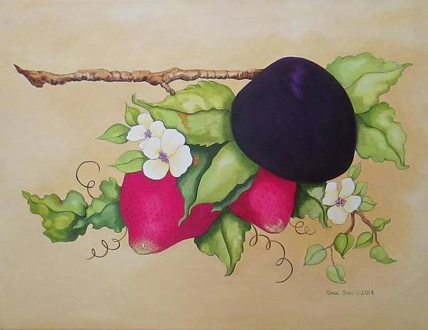 Wall Art - Painting - Plum Perfect II by Carol Sabo