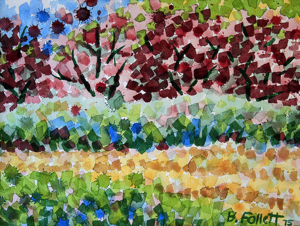 Painting - Plum Trees In Spring by Bonnie Follett