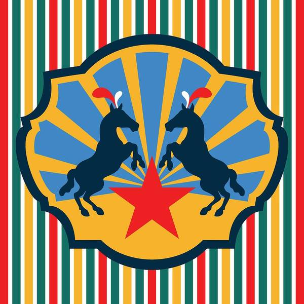 Digital Art - Plumed Circus Ponies Red Star On Gold by MM Anderson