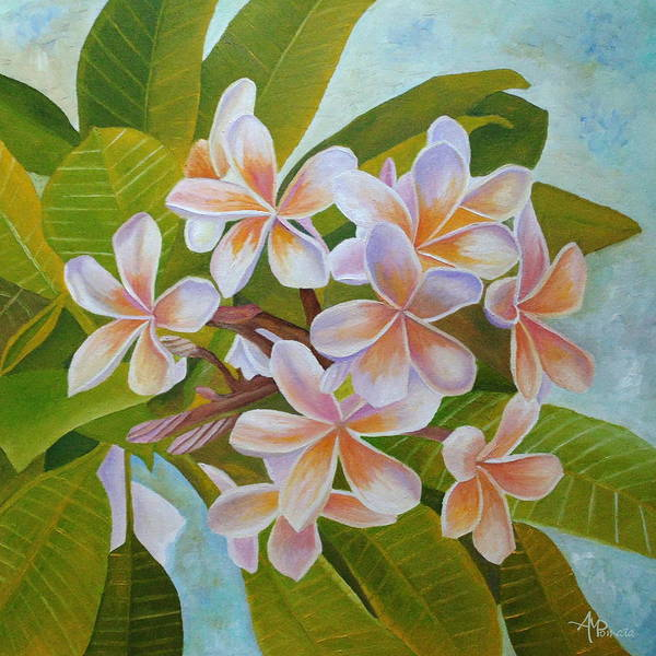 Painting - Plumeria by Angeles M Pomata