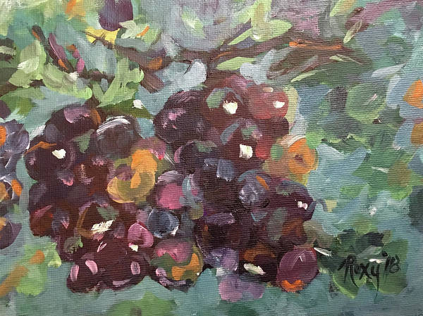 Wine Painting - Plump Grapes by Roxy Rich