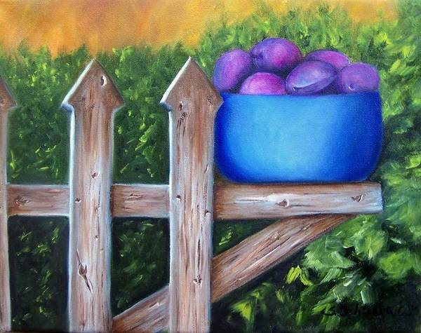 Painting - Plums On The Fence by Susan Dehlinger