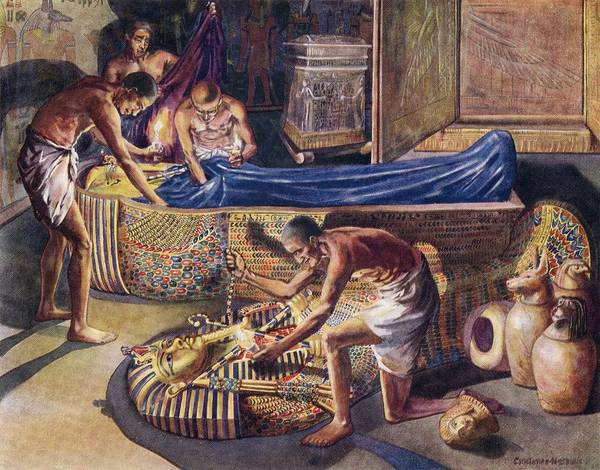 Ancient Egypt Drawing - Plundering Pharaoh Theban Tomb Robbers by Vintage Design Pics