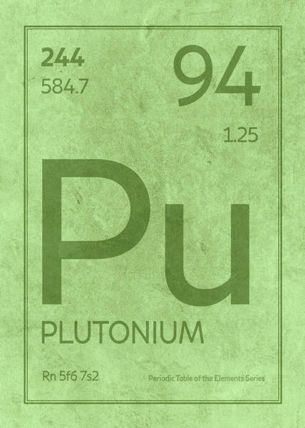 Elements Mixed Media - Plutonium Element Symbol Periodic Table Series 094 by Design Turnpike