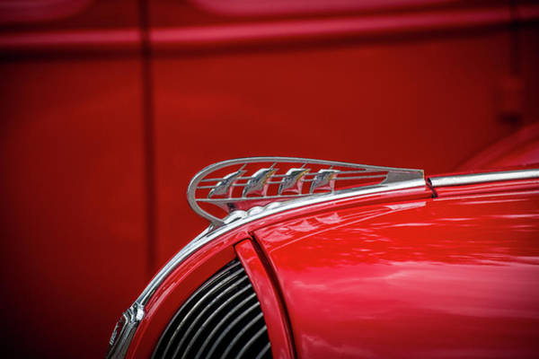 V8 Engine Wall Art - Photograph - Plymouth Hood Ornament by Paul Freidlund