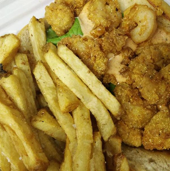 Photograph - Po Boy Shrimp Sandwich With Fries by Robert Knight