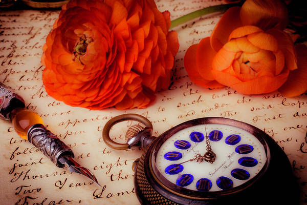 Ranunculus Photograph - Pocket Watch And Ranunculus by Garry Gay