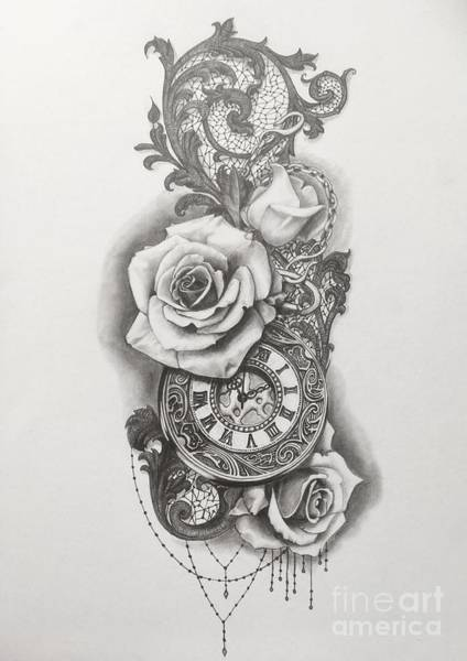 Tattoo Drawing Drawing - Pocketwatch And Roses by Emma Ridley