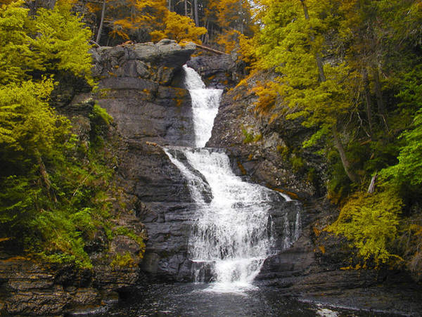 Poconos Wall Art - Photograph - Pocono Mountains Waterfall - Raymondskill Falls Autumn by Bill Cannon