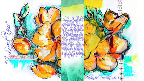 Drawing - lyric of Pushkin and yellow flowers by Ariadna De Raadt