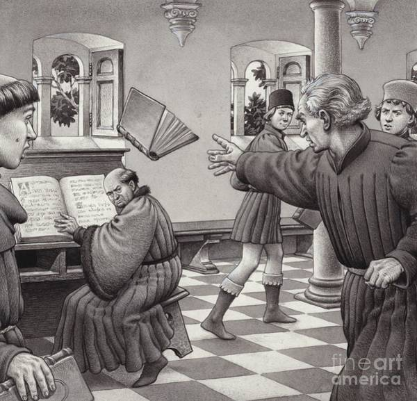 Monk Painting - Poggio Bracciolini Throws A Book At A Fellow Scholar, Tortelli by Pat Nicolle