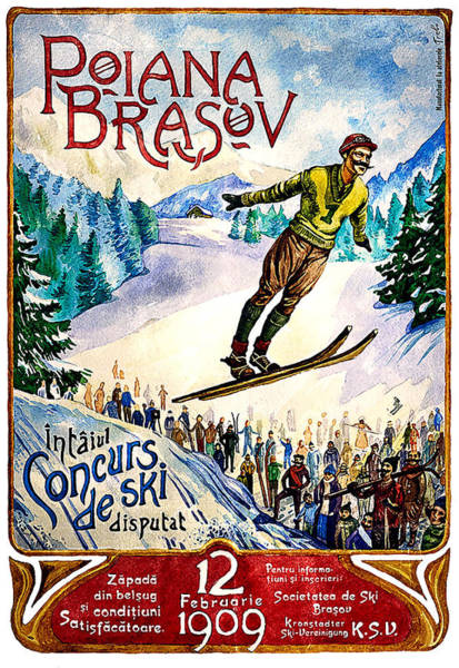 Winter Sports Painting - Poiana Brasov, Romania, Winter, Ski Jump by Long Shot