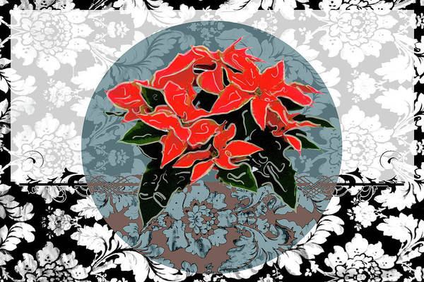 Teal Mixed Media - Poinsettias 1 by Priscilla Huber