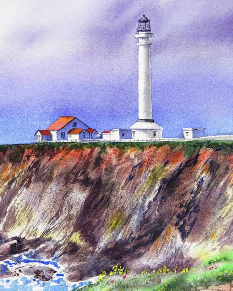 Wall Art - Painting - Point Arena Lighthouse California Shore by Irina Sztukowski