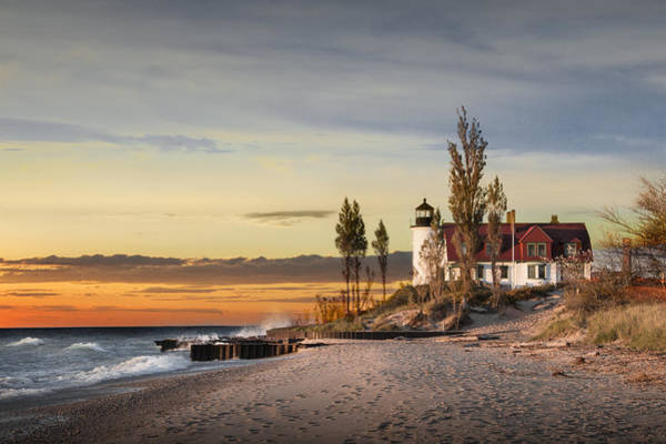 Photograph - Point Betsie Lighthouse At Sunset On Lake Michigan by Randall Nyhof