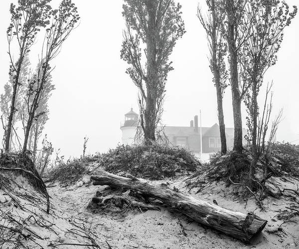 Photograph - Point Betsie Lighthouse In Fog by Dan Sproul