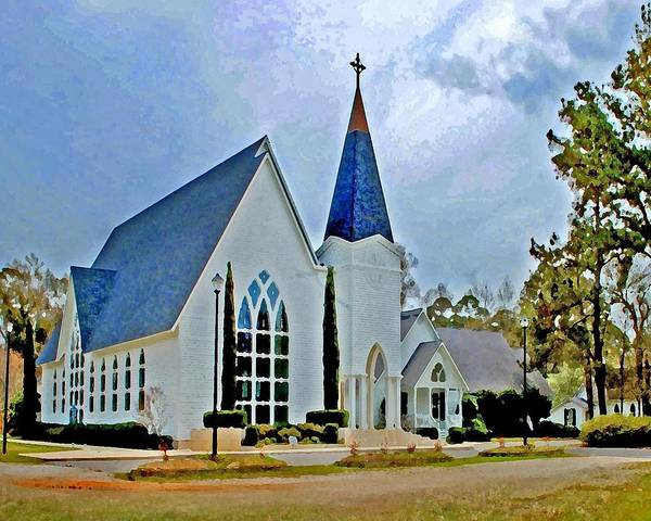 Alabama Painting - Point Clear Alabama St. Francis Church by Michael Thomas