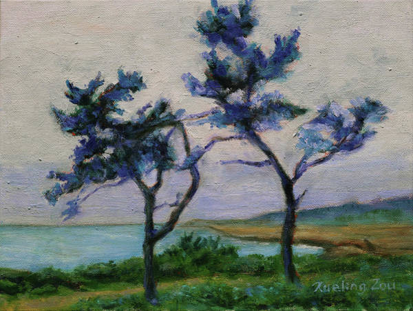 Painting - Point Lobos State Natural Reserve Carmel-by-the-sea California Landscape 18 by Xueling Zou