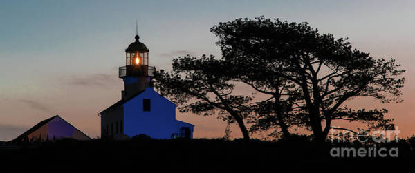 Photograph - Point Loma Lighthouse At Sunset by David Levin