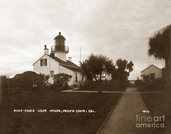 Photograph - Point Pinos Light House, Pacific Grove, Cal. Circa 1911 by California Views Archives Mr Pat Hathaway Archives