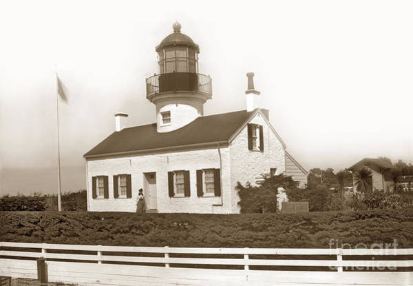 Photograph - Point Pinos Lighthouse And Mrs. Emily A. Fish Keeper Circa 1897 by California Views Archives Mr Pat Hathaway Archives