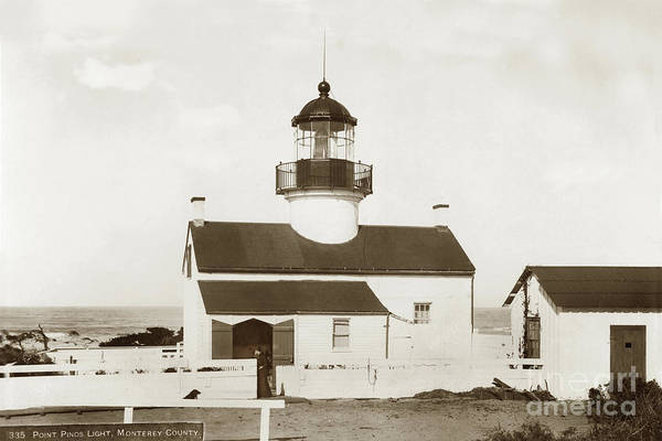 Photograph - Point Pinos Lighthouse, Pacific Grove, Monterey County California 1899 by California Views Archives Mr Pat Hathaway Archives