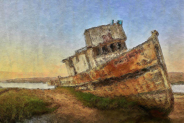 Beautiful Scenery Digital Art - Point Reyes Boat by Jon Glaser