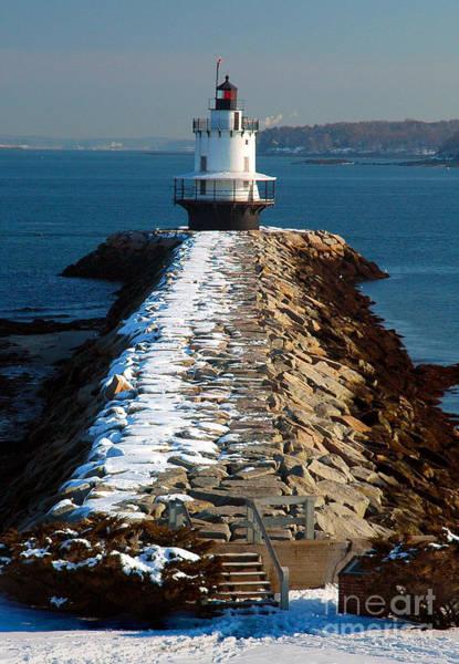 Wall Art - Photograph - Point Spring Ledge Light - Lighthouse Seascape Landscape Rocky Coast Maine by Jon Holiday