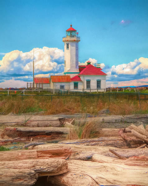 Port Townsend Painting - Point Wilson Lighthouse And Driftwood by Dan Sproul