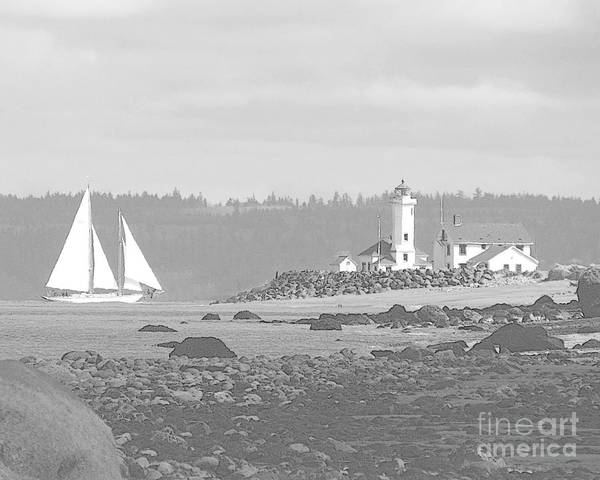 Point Wilson Lighthouse And Sailboat Art Print