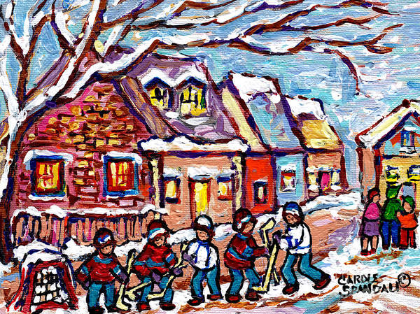 Painting - Family Street Suburban Hockey Game Pointe Claire Houses Montreal Scene Canadian Art Carole Spandau   by Carole Spandau