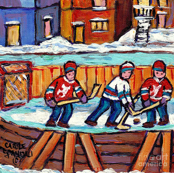 Painting -  Outdoor Hockey Rink Painting  Devils Vs Rangers Sticks And Jerseys Row House In Winter C Spandau by Carole Spandau