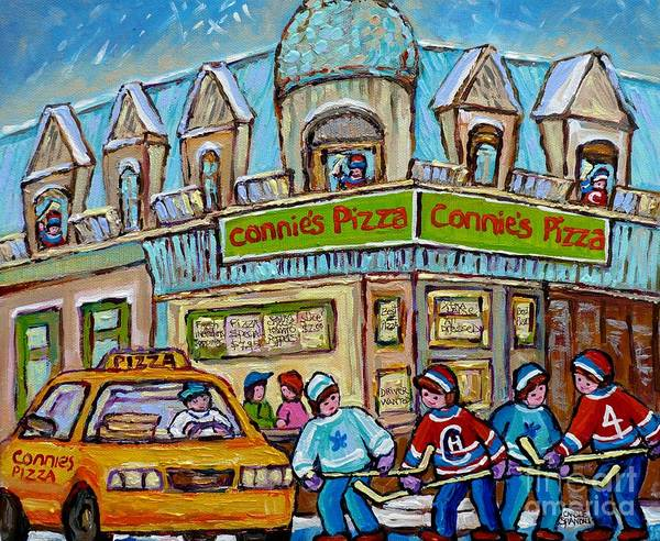 Painting - Pointe St Charles Paintings Hockey Game At Connie's Pizza With Yellow Delivery Cab Montreal Art by Carole Spandau